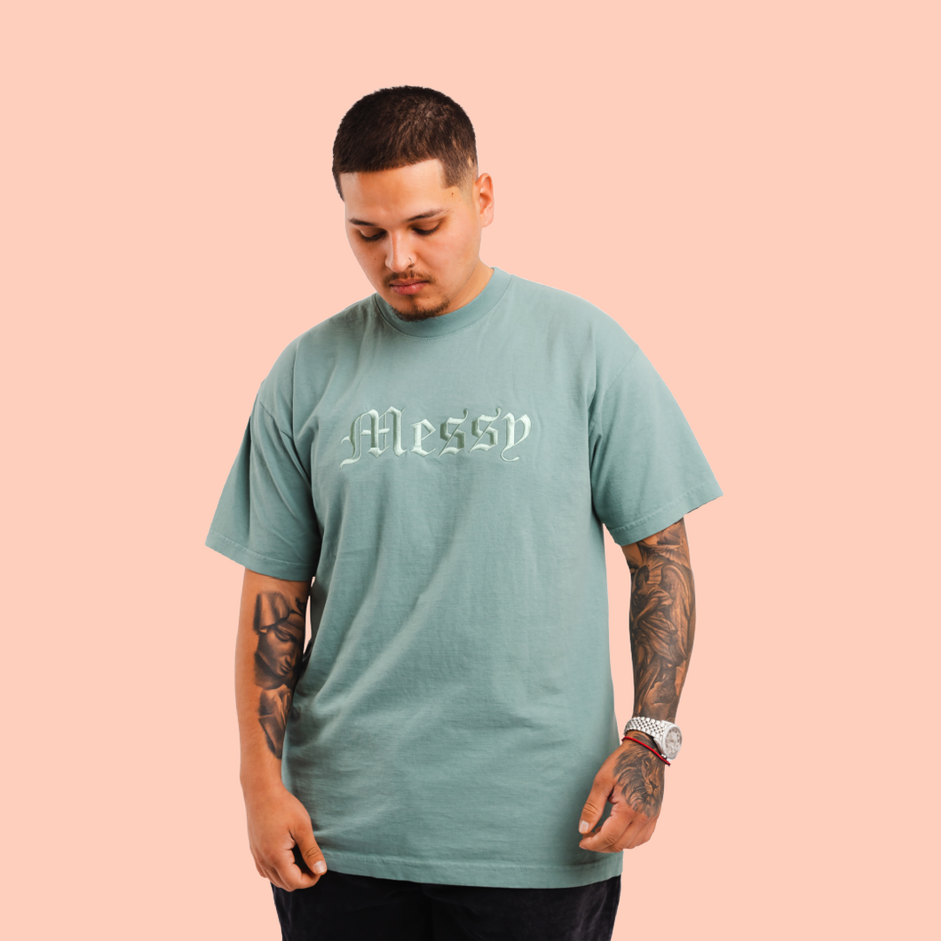 Sage Messy T-shirt (Embroidered Logo)