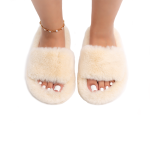 Casey Furry Slippers (Cream)