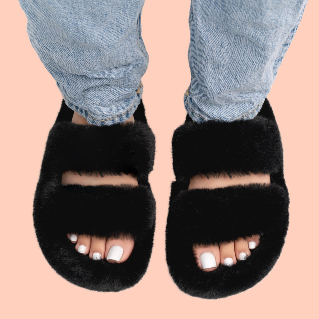 Furry Slippers (Black)