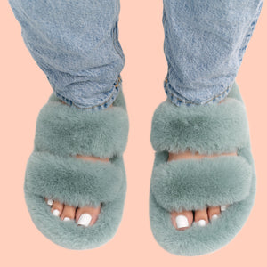 Furry Slippers (Blue/green)
