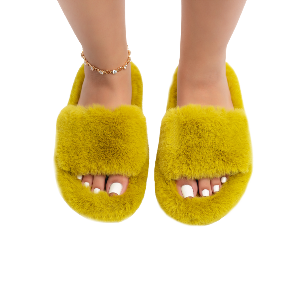 Casey furry slippers (Yellow/green)