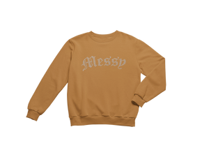 Vintage Wash Caramel Rhinestone Crewneck (Nude Collection)