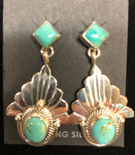 Load image into Gallery viewer, Turquoise set in sterling silver post earrings