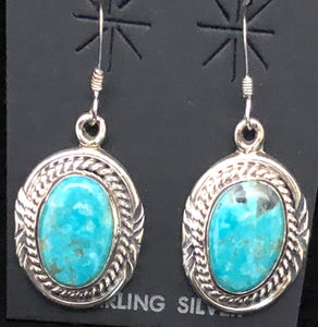 Turquoise set in sterling silver earrings
