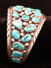 Load image into Gallery viewer, Turquoise nugget sterling silver bracelet