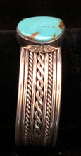 Load image into Gallery viewer, Turquoise and sterling silver cuff bracelet