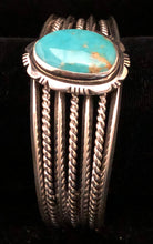 Load image into Gallery viewer, Turquoise set in sterling silver cuff bracelet