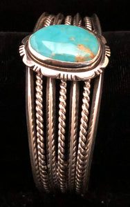 Turquoise set in sterling silver cuff bracelet
