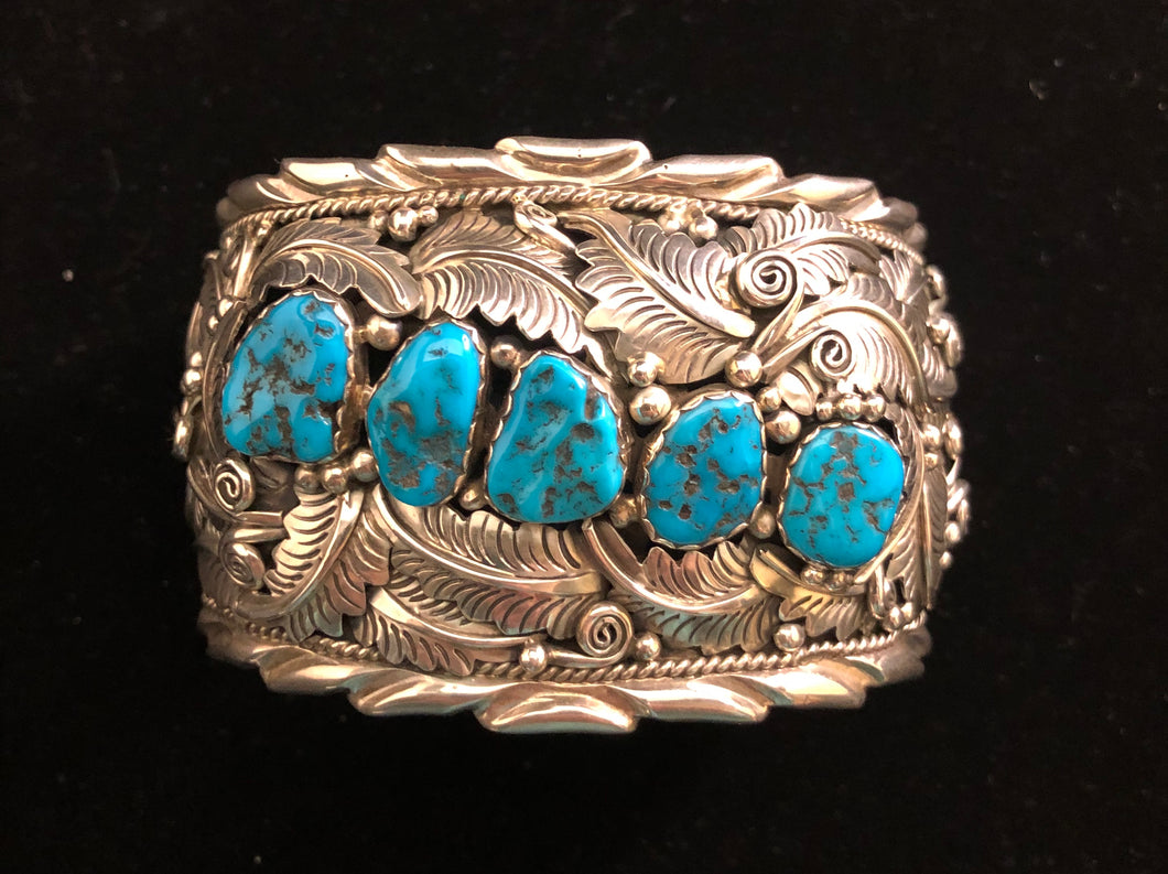 Turquoise nugget sterling silver bracelet