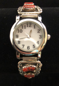 Coral sterling silver watch band