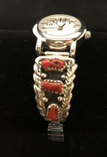 Load image into Gallery viewer, Coral sterling silver watch band