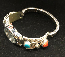 Load image into Gallery viewer, Turquoise and coral sterling silver watch band