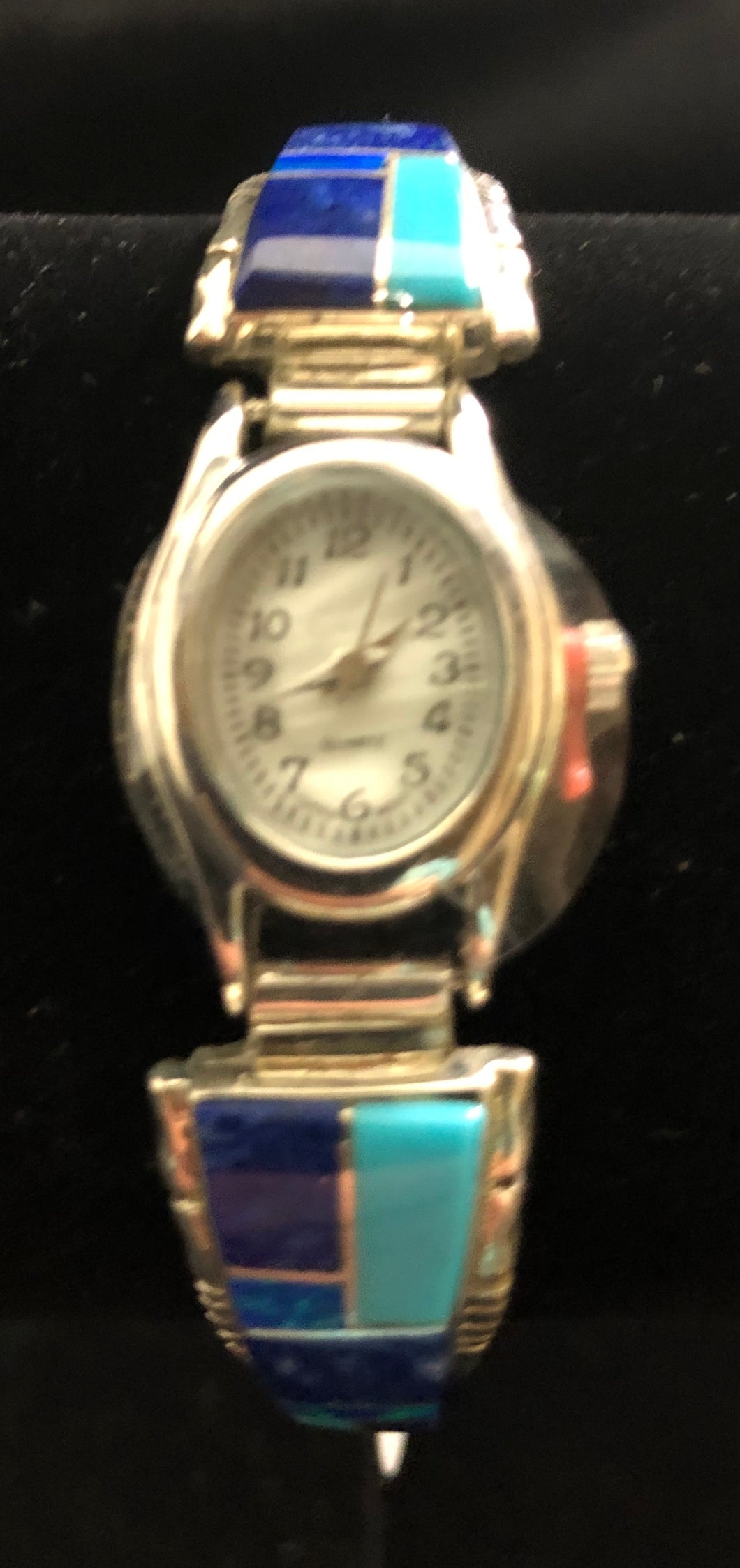 Turquoise, Lapis and Opal inlay sterling silver watch band