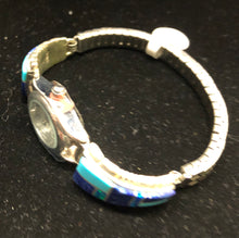 Load image into Gallery viewer, Turquoise, Lapis and Opal inlay sterling silver watch band