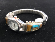 Load image into Gallery viewer, Turquoise, tiger's eye, onyx inlay sterling silver watch band