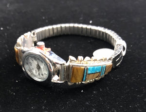 Turquoise, tiger's eye, onyx inlay sterling silver watch band