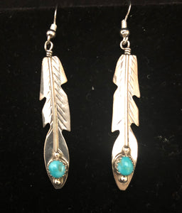Turquoise sterling silver feather earrings