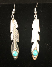 Load image into Gallery viewer, Turquoise sterling silver feather earrings