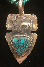 Load image into Gallery viewer, Turquoise sterling silver arrowhead buffalo necklace