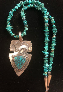 Turquoise sterling silver arrowhead buffalo necklace