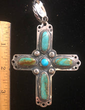 Load image into Gallery viewer, Turquoise sterling silver cross pendant