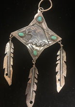 Load image into Gallery viewer, Turquoise sterling silver Eagle & feathers pendant