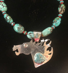 Turquoise sterling silver horse necklace