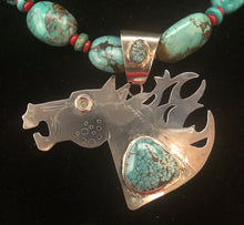 Load image into Gallery viewer, Turquoise sterling silver horse necklace