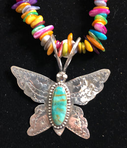 Turquoise sterling silver butterfly necklace