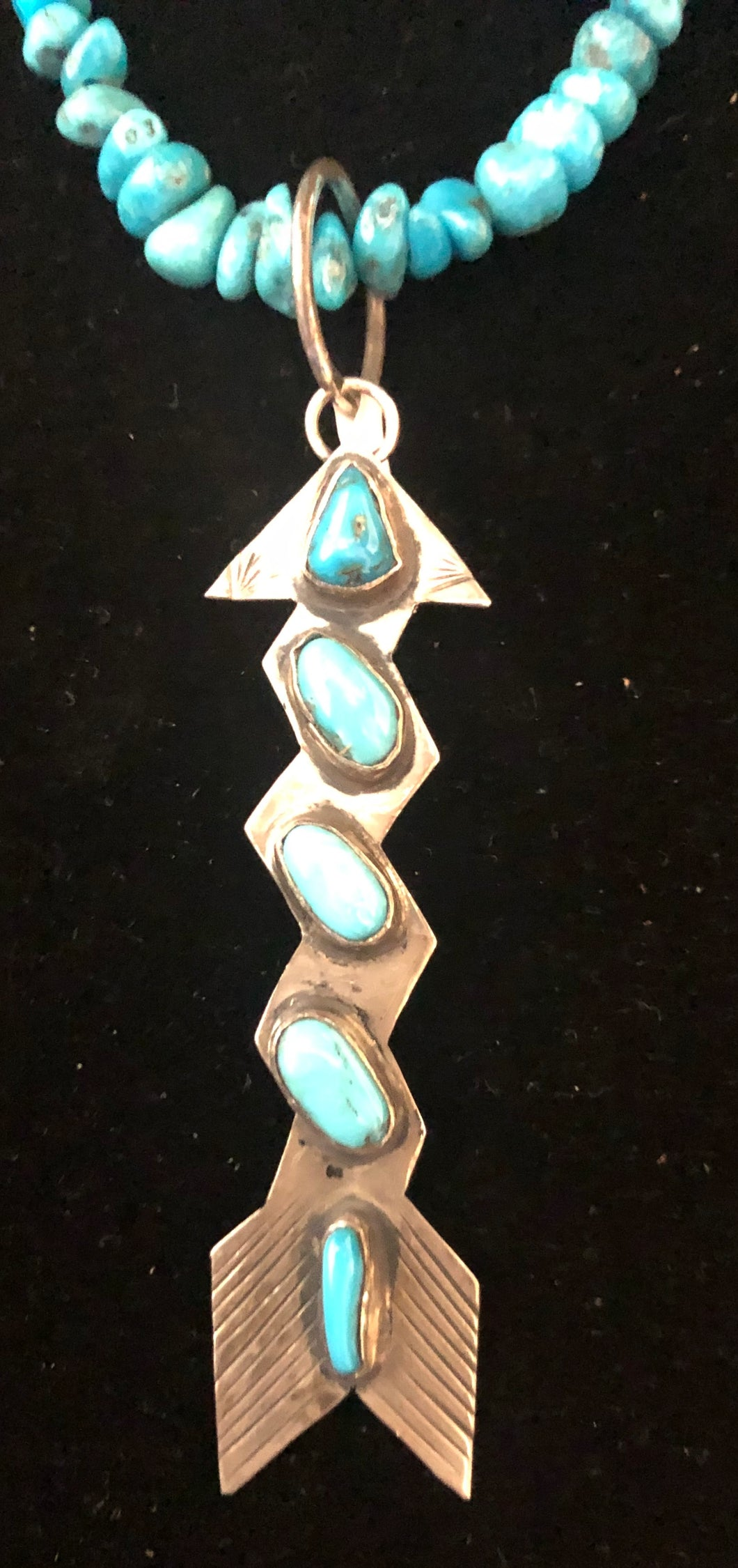 Turquoise sterling silver arrow necklace