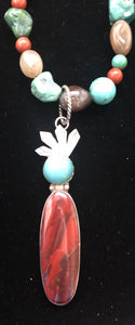 Red Creek Jasper and Turquoise sterling silver Shamans necklace
