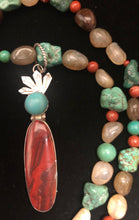 Load image into Gallery viewer, Red Creek Jasper and Turquoise sterling silver Shamans necklace