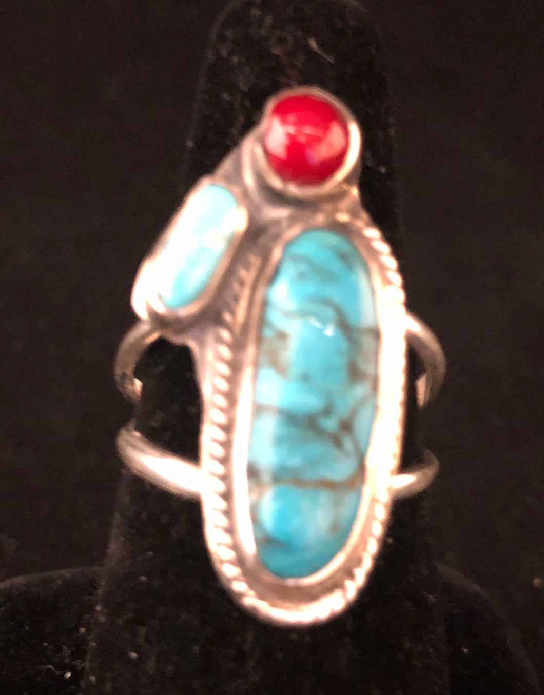 Turquoise and coral sterling silver ring