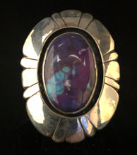 Load image into Gallery viewer, Sugilite, Turquoise & Pyrite sterling silver ring