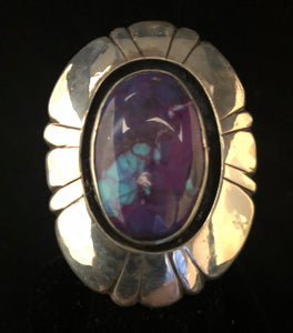Sugilite, Turquoise & Pyrite sterling silver ring