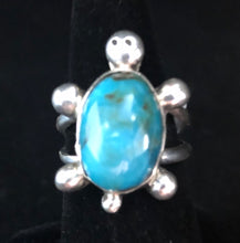 Load image into Gallery viewer, Turquoise sterling silver turtle ring