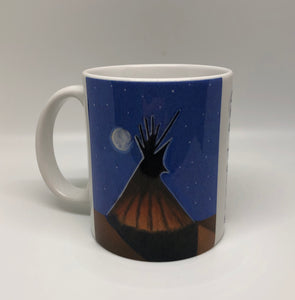 """Big Moon Teepee"" ceramic art coffee mug"