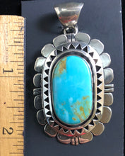 Load image into Gallery viewer, Turquoise sterling silver pendant necklace