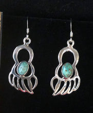 Load image into Gallery viewer, Turquoise sterling silver bear paw earrings