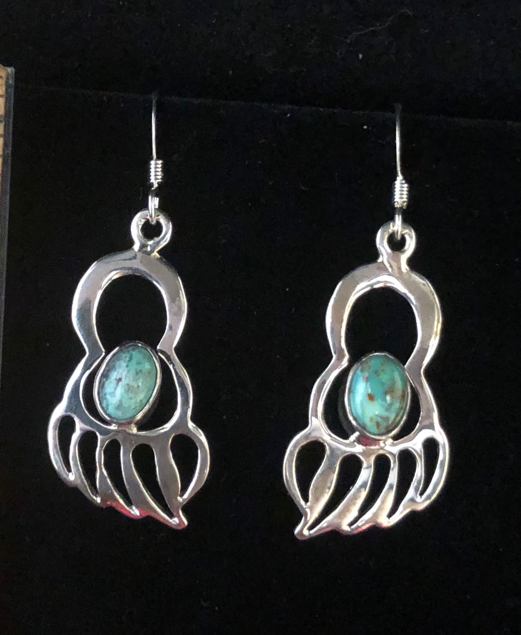 Turquoise sterling silver bear paw earrings