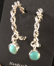 Load image into Gallery viewer, Turquoise sterling silver hoop earrings