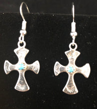 Load image into Gallery viewer, Turquoise sterling silver cross earrings