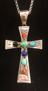 Multi stone sterling silver cross necklace