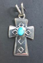 Load image into Gallery viewer, Turquoise sterling silver cross necklace pendant