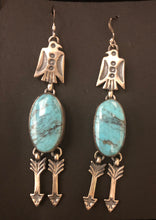 Load image into Gallery viewer, Turquoise sterling silver dangle Thunderbird & arrow earrings