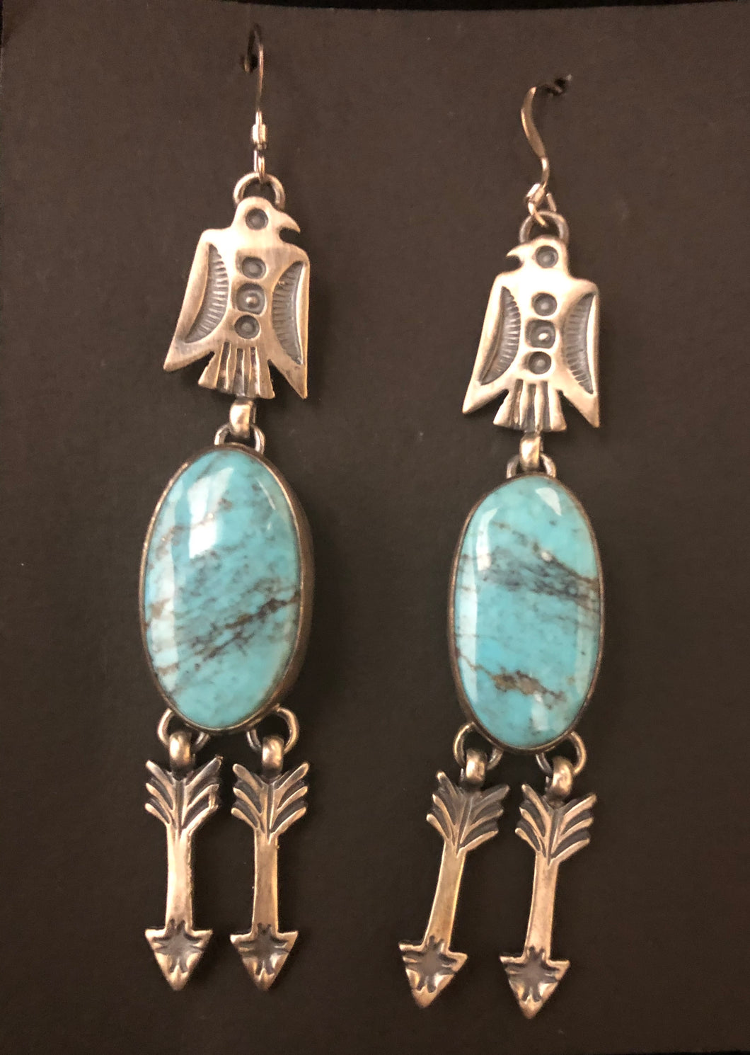 Turquoise sterling silver dangle Thunderbird & arrow earrings