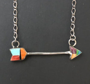 Turquoise, Onyx and Spiny Oyster sterling silver arrow necklace