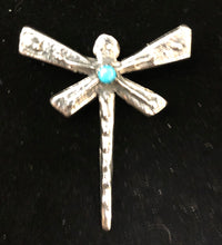 Load image into Gallery viewer, Turquoise sterling silver dragonfly pin/necklace pendant