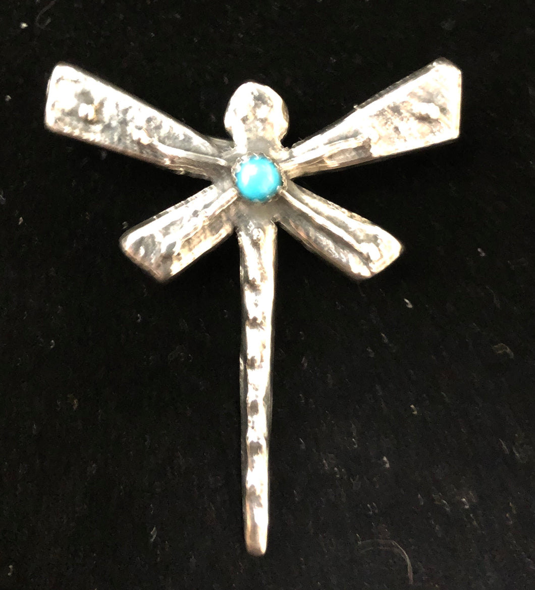 Turquoise sterling silver dragonfly pin/necklace pendant