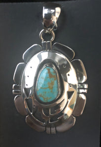 Turquoise sterling silve shadow box necklace pendant